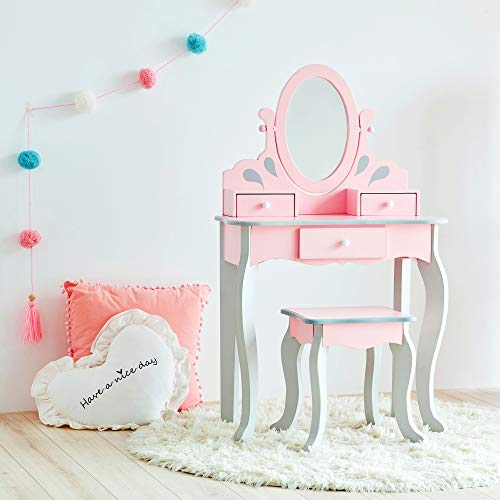 Teamson Kids Little Princess Rapunzel Wooden Vanity Set with Mirror and Chair, Pink/Gray