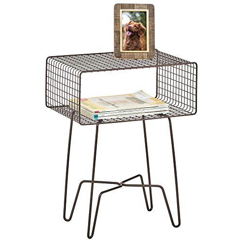 mDesign Mesita auxiliar de metal pequeña – Elegante mesa auxiliar vintage para el salón o el dormitorio – Mesa de centro con moderno diseño de horquilla – color bronce