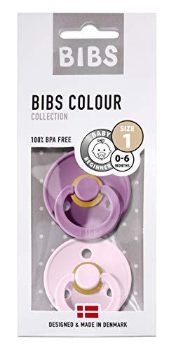 BIBS Schnuller Colour 2er Pack Größe 1 (0-6 Monate), Naturkautschuk, dänische Schnuller mit Kirschform (Lavender/Baby Pink, Größe 1 (0-6 Monate))