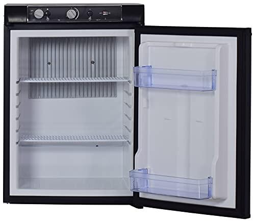 Techomey Propane Refrigerator 2.1 Cu.Ft, 12 V/110V/GAS LPG, Mini Fridge 3 Way, Quiet Compact Camping Fridge for Caravan, Motorhome, Cabin, Boat, Apartment, Office, Kitchen, Black