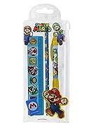 """Articoli realizzati con licenza ufficiale """"Super Mario"""". Ideale per il rientro delle classi Kit completo! 3 righelli, 1 matita di legno, 1 penna a sfera, 1 temperino, 1 gomma. Articoli di qualità"""