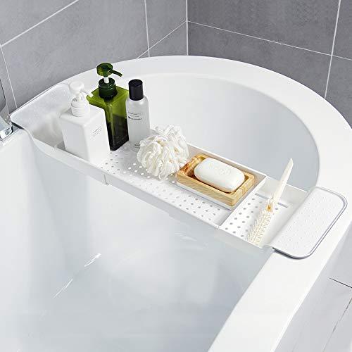 Duckweed Expandable Bath Shelf Bathtub Tray, Adjustable Bathtub Caddy Tray Storage Rack Multifunctional Bathtub Tub Organizer for Book Wine Phone...