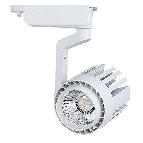 FactorLED Foco LED 30W NORA WHITE para Carril Monofásico 35º Sistema Orientable 3000Lm Varias Temperaturas de Color 3000k, 4000k y 6000k, Focos Led Techo, Iluminación Comercial, (Blanco Frío)