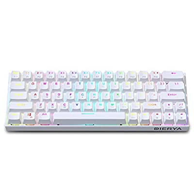 60% Keyboard with Dedicated Arrow Keys, White DIERYA DK63W Wireless Wired Mechanical Gaming Computer Keyboard True RGB Backlit Bluetooth 5.1 Programmable, N-Key Rollover for Windows Mac - Brown Switch