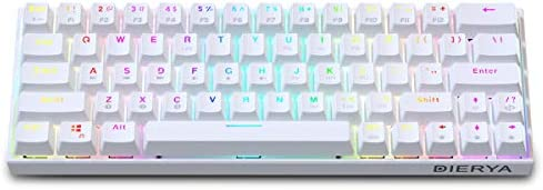 60% Keyboard with Dedicated Arrow Keys, White DIERYA DK63W Wireless Wired Mechanical Gaming Computer Keyboard True RGB Backlit Bluetooth 4.0 Programmable, N-Key Rollover for Windows Mac - Brown Switch