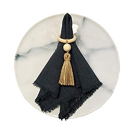 wooden napkin ring with tassel