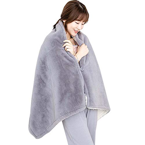 TRFBC Electric Blanket Shawl Shoulder Heat Blanket, Removable and Washable, with 6 Heating Levels and 7 Hours Auto Off, for Home Office Bed Sofa Use Gray
