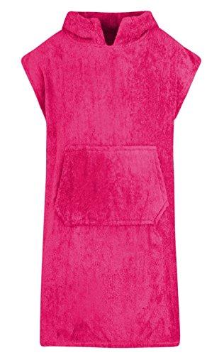 Für Kinder - Unisex 100% Baumwoll Bademantel Poncho mit Tasche Frottiermantel Handtuch Schwimmen Surfen - Alter 6-9, Rosa