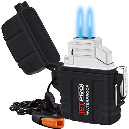 JETPRO Double Torch Lighter Insert Detachable Waterproof Case with Survival Emergency Whistle Lanyard & Flame Adjuster (Butane Fuel is Not Included) for Candle, Hiking, Camping - Outdoors Indoors