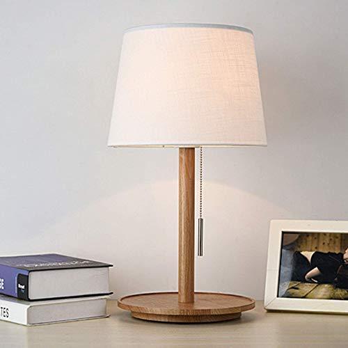 LJYY Lámpara de Escritorio de Madera para Dormitorio, lámpara de Mesa Creativa con Interruptor de Cadena de Tirador de Pantalla de Tela, lámpara de Noche E27 para Sala de Estar, Oficina, Estudio,