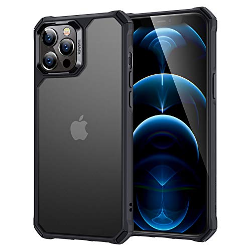 """ESR Air Armor Case Compatible with iPhone 12 Case/Compatible with iPhone 12 Pro Case (2020) [Military Grade Protection] [Shock-Absorbing Corners] Hard PC + Flexible TPU Frame, 6.1"""" - Frosted Black"""