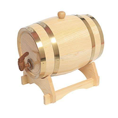 ROSG Dispensador de Barril de Whisky de 5 litros Decantador de Barril de Vino Envejecido de Roble de Madera para Mesa de Servicio Exhibición de Acento en el hogar Almacenamiento de licores,