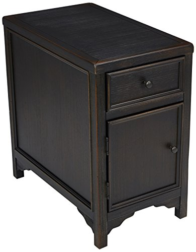 Signature Design by Ashley - Gavelston Chairside End Table w/ Storage, Rubbed Black Finish