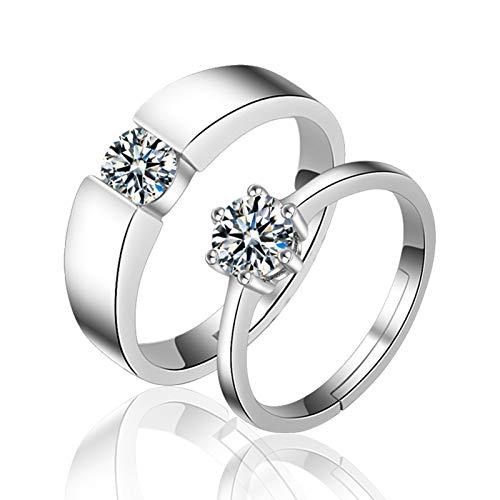 Lucky Meet 2 anillos de compromiso para parejas, amantes de la eternidad, anillos de compromiso ajustables para hombres y mujeres, anillos de boda, regalo