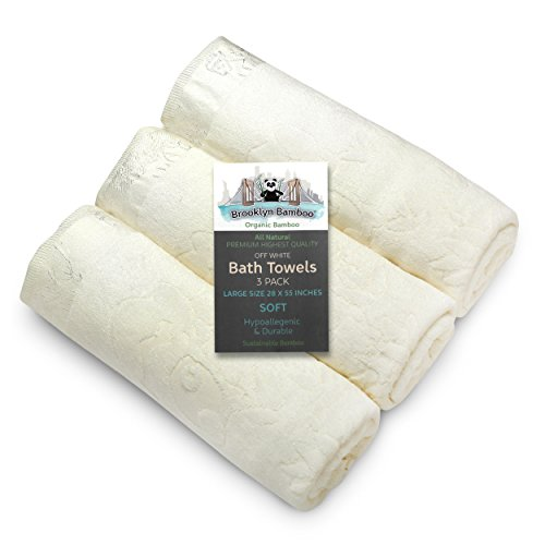 """Brooklyn Bamboo Bath Towels - Soft Absorbent Hypoallergenic Odor Free Bamboo Bath Towels - Made with Bamboo - Large 27.6"""" X 55.1"""""""