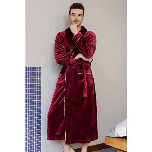 LIUY Mens Bademantel Robe Kimono, Plüsch mit Schalkragen Coral Fleece Super Soft bequemes, warmes Bademäntel for Männer (Color : Red, Size : XL)