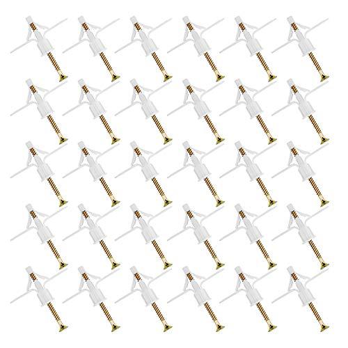 WEKON 50 PCS Gipskarton-Dübel & Schrauben, Butterfly-Expansionsrohr-Expansionsschraube für die Installation von Gipskarton-Wandbefestigungselementen