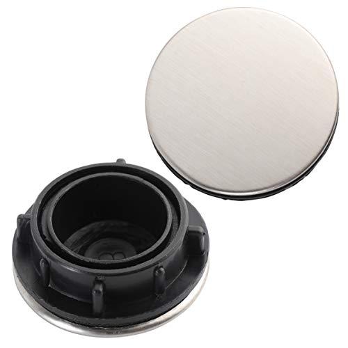 STOBOK - Tapa del orificio del fregadero de 2 piezas - Tapa del tapón del agujero del tapón del tapón del cierre - Tapón metálico de acero inoxidable para baño, plateado