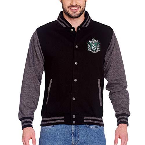 Harry Potter College Jacke Slytherin Wappen Front- und Rückenpatch schwarz grau - M