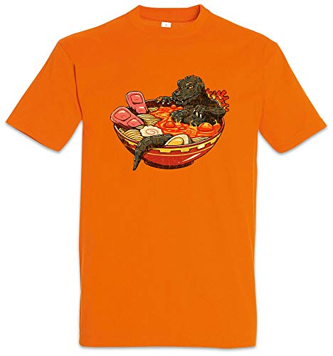 Ramen Lava T-Shirt Fun Ramen Japan Noodles Godzilla Noodle Nudeln Liebe Süchtig Orange L
