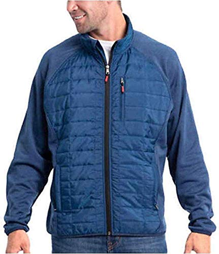 Orvis Men's Mixed Media Full Zipper Quilted Jacket (True Blue, Medium)