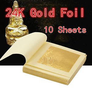 10 Sheets Gold Foil Leaf 100% 24K For Food Anti-Aging Facial Spa...