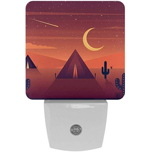 Lámpara de noche LED con estampado de cactus del desierto, luz nocturna para niños, con movimiento automático de atardecer hasta el amanecer, ideal para dormitorio, baño, escaleras, cocina, pasillo