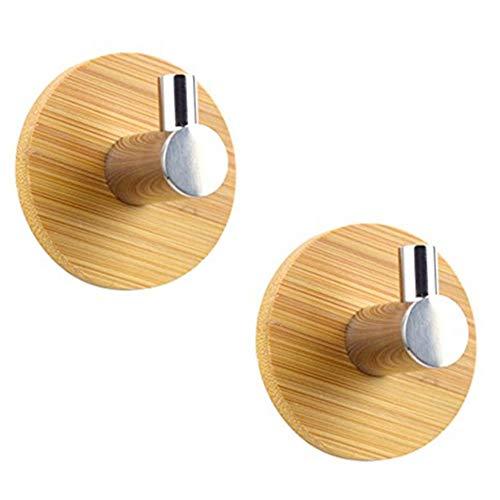 LvLoFit Einstellbar Haken Selbstklebend Bambus Holz Edelstahl Hook für Wand Tür Handtuchhaken Kleiderhaken Set de 2 (Single Hook Set de 2)