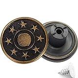 Trimming Shop 17 mm bronzo jeans bottoni 8 stelle con perni di ricambio bottoni a pressione per giacche, vestiti, pantaloni, artigianato, decorazioni, durevole e resistente, metallo, 8…