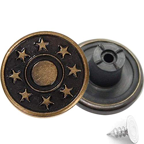 Trimming Shop 17mm Bronze Jeans Buttons 8 Stars with Pins Replacement Snap Fasteners for Jackets, Clothes, Trousers, Sewing Knitting Crafts, Embellishments, Durable and Strong, Pack of 8