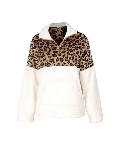 Baige Damenmode Revers Langarm Fleece vorne offen Mantel mit Taschen Oberbekleidung Übergroße Winter Faux Coat