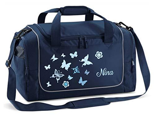 Mein Zwergenland Sporttasche Kinder Praktisch kompakt & robust Sporttasche mit Namen Schmetterling als Aufdruck Farbe French Navy Blau 38 L Stauraum die perfekte Sporttasche für Kinder