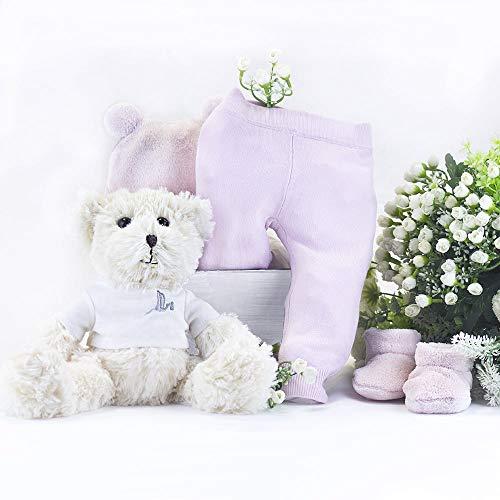 BebeDeParis   Regalos Originales para Bebés Recién Nacidos   Canastilla con Leggings, Gorrito y Patucos   Incluye Osito   3-6 Meses (Rosa)