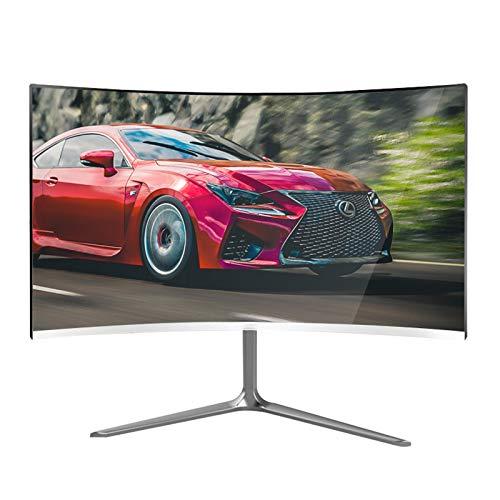 YILANJUN Blanco Curvo Monitor de Juegos, 24', HDMI/VGA, 75Hz, FHD 1080P, 99% sRGB, Panel MVA Ángulo Visión Amplio 178 °, sin Bordes, 1 Ms, 16,7 Millones Colores