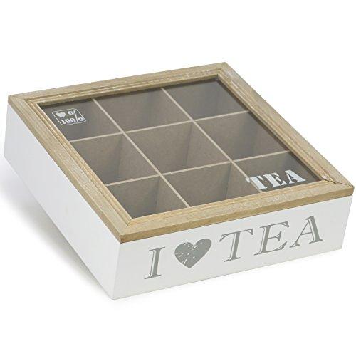 com-four® Aufbewahrungsbox für Teebeutel - weiße Tee-Box aus Holz mit braunem Deckel - mit 9 Fächern und Sichtfenster aus Glas (01 Stück - 9 Fächer)