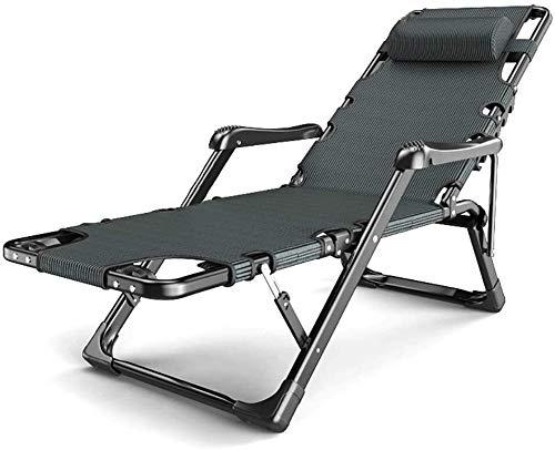 Jxus Lounge Chair Garden Chaise Zero Gravity Chair Folding Zero Gravity Bed Single, Metal Frame Oversized Patio Recliner Adjustable Backrest Beach Sun Lounger Sun Lounger (Color : No Cushion)