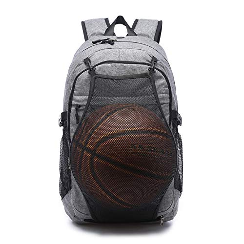 WWWL Sports backpack Men's Sports Basketball Gym Bags Backpack School Bags For Teenager Boys Soccer Ball Pack Laptop Bag Football Net Fitness Bag sports backpack for men backpack waterproof Gray