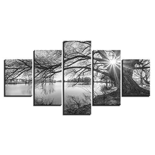 TIANJJss 5 foto's op canvas met afbeeldingen op canvas voor woonkamer muurkunst poster 5 stuks Lakeside grote bomen Schilderij Zwart Wit Landschap Decoratie voor thuis