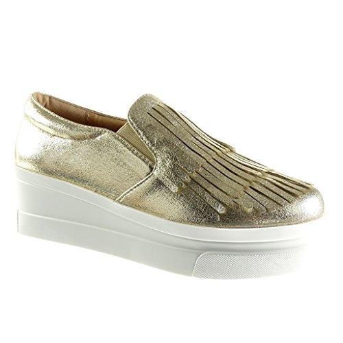 Angkorly - Damen Schuhe Mokassin - Slip-On - Plateauschuhe - Fransen - Patent Keilabsatz high Heel 5.5 cm - Gold 929-1 T 37