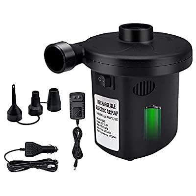 Electric Air Pump for Inflatable Rechargeable Portable Air Pump Inflate Deflate for Inflatable Air Bed Mattress, Paddling Pool, Swimming Ring Camping Pump by HEETHYCOOL