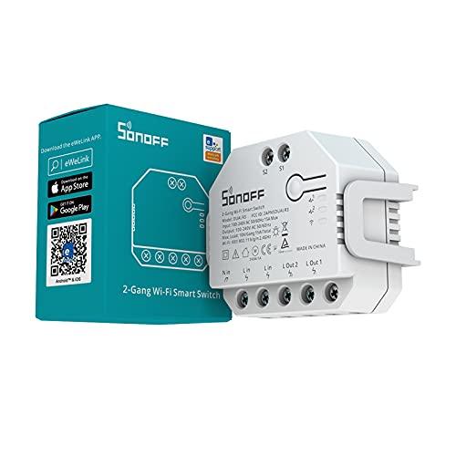 SONOFF DUALR3 Interruptor Inteligente de 2 Canales-Interruptor WiFi del Medidor de Potencia, Interruptor Inteligente para Persianas y Garaje, 3 Modos de Trabaj,Funciona com Alexa e Google Home,3300w