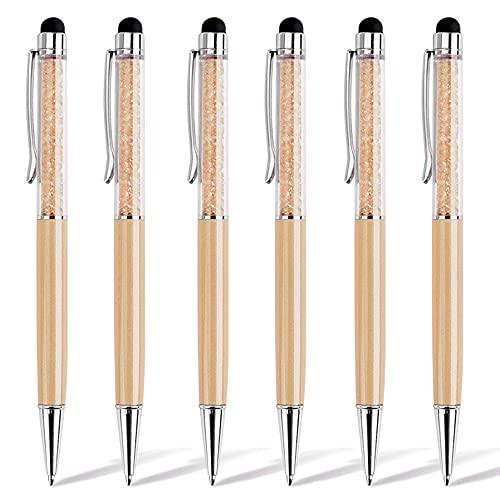 Chostky 6 Piezas 2 en 1 con lápiz óptico, Tinta Negra, bolígrafo táctil retráctil de Cristal de Diamante bolígrafos capacitivos Brillantes para teléfonos Inteligentes de Pantalla táctil (Dorado)