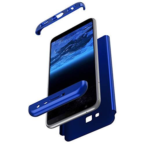 Herbests Kompatibel mit Samsung Galaxy J4 Plus 2018 Hülle 360° Rundumschutz Handyhülle Schutzhülle Komplettschutz Tasche Full Cover Front Back Double Beidseitiger Cover PC Hartschale,Blau