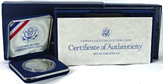 1987 Uncirculated US Constitution Commemorative Silver Dollar with Box