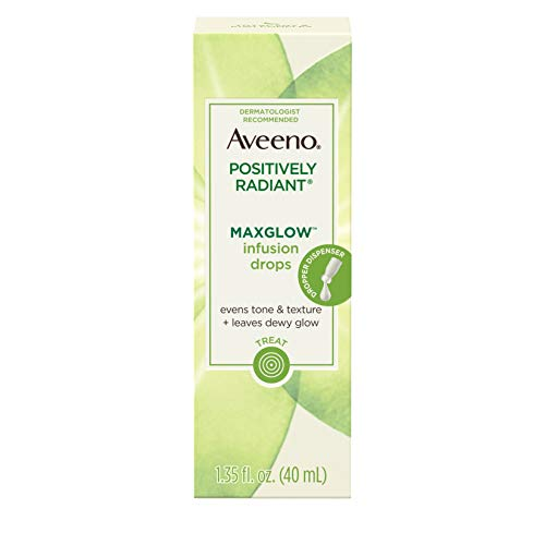 Aveeno Positively Radiant MaxGlow Infusion Drops with Moisture Rich Soy & Kiwi Complex, Hypoallergenic, Non-Comedogenic, Paraben- & Phthalate-Free Moisturizing Facial Serum, 1.35 fl. oz