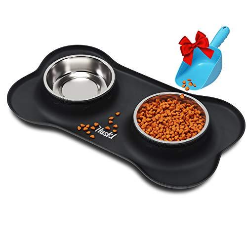 Set ciotola per cani con base in silicone, antiscivolo, per cani, gatti, 2 x 400 ml, con paletta per mangime, ciotola per cibo a forma di osso, colore nero, accessorio per cani