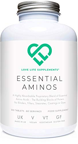 Essential Amino Acids (EAA's) by LLS | Includes All 3 BCAA's Plus 5 More Amino Acids Necessary to Build and Repair Muscle | 300 Tablets / 60 Servings | 5-10g per Serving | Manufactured Here in the UK Under BRC Certification | New Formula - Vegan Friendly