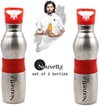 Nouvetta Set of 2 Sports Water Bottle, 650 ml, Red Silicon Band