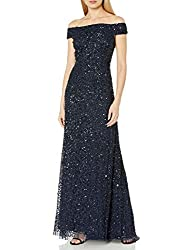 Navy Off The Shoulder Crunchy Bead Gown
