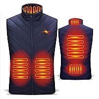 男性女性用加熱ベスト、インテリジェント5加熱ゾーンUSB電気加熱ジレット、3レベル調整可能温度、屋外キャンプハイキングスキーライディング用,ブルー,3XL